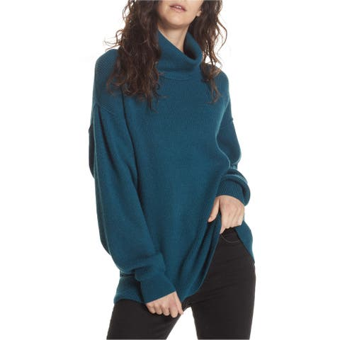 Free People Womens Softly Structured Pullover Sweater, Blue, Large