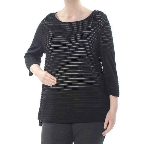ST JOHN Womens Black Transparent Strip 3/4 Sleeve Top Size S