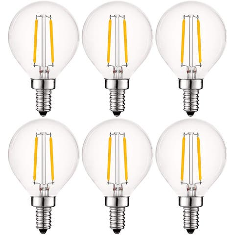 Luxrite 4W Vintage G16.5 LED Globe Light Bulbs Dimmable, 400 Lumens, 40W Equivalent, Clear Glass, E12 Base (6 Pack)