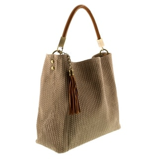 HS2070 TP GRAZIA Taupe Leather Hobo Shoulder Bag