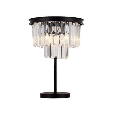 """Giselle Glam Crystal Table Lamp in Black, 22 inches - 22"""""""