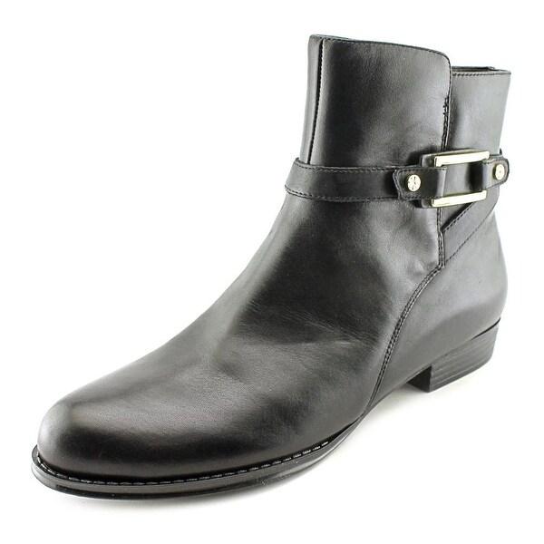 Isaac Mizrahi Tinker Women Round Toe Leather Black Ankle Boot