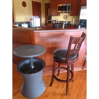 Keter Pacific Cool Bar Brown Wicker Outdoor Ice Cooler Table   Free  Shipping On Orders Over $45   Overstock.com   9999918928784