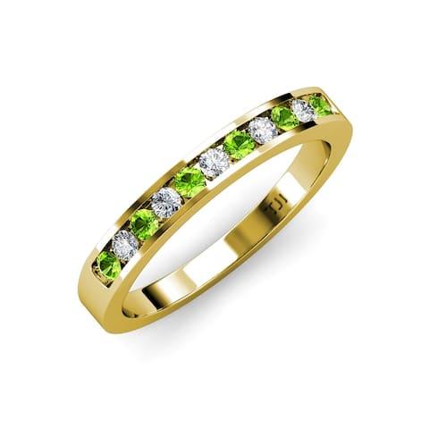 TriJewels Peridot Diamond 11 Stone Wedding Band Stackable 14K Gold