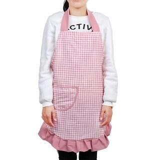 Home Kitchen Plaid Pattern Front Patch Pocket Waist Tie Cooking Apron Bib Pink