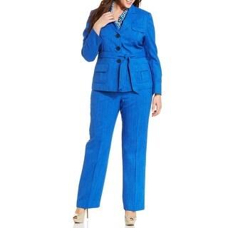 Le Suit NEW Blue Women's 20W Plus Belted Printed Scarf Pant Suit Set