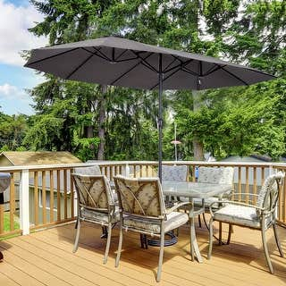 Outsunny 15-foot Steel Rectangular Double Sided Market Umbrella Deals