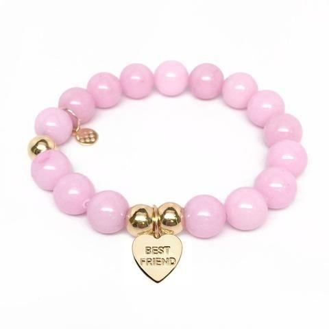 Julieta Jewelry Best Friend Heart Charm Pink Jade Bracelet