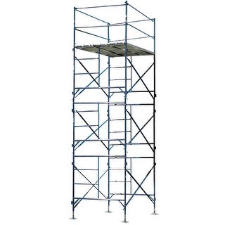 Offex 3 Story Metal Stationary Scaffold Tower with Blue Powder Coat Finish