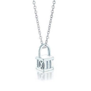 Bling Jewelry Roman Numerals Cube Pendant Silver Plated Necklace 16 Inches