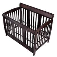 Costway Coffee Pine Wood Baby Toddler Bed Convertible Crib Nursery Furniture Children