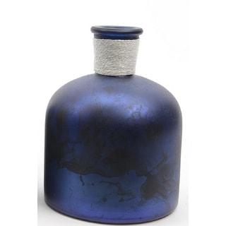 "6.75"" Seaside Treasures Handcrafted Marbled Purple and Black Glass Vase"