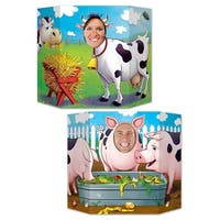 """Pack of 6 Double-Sided Pigs and Cows Stand-Up Cutout Photo Prop Party Decorations 37"""" - Multi"""