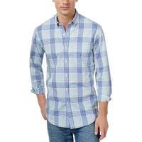 Club Room Lazulite Blue Plaid Long Sleeve Button Down Shirt XXL 2XL
