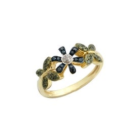 Brand New 0.24 Carat Green, Blue and White Diamond Butterfly Ring