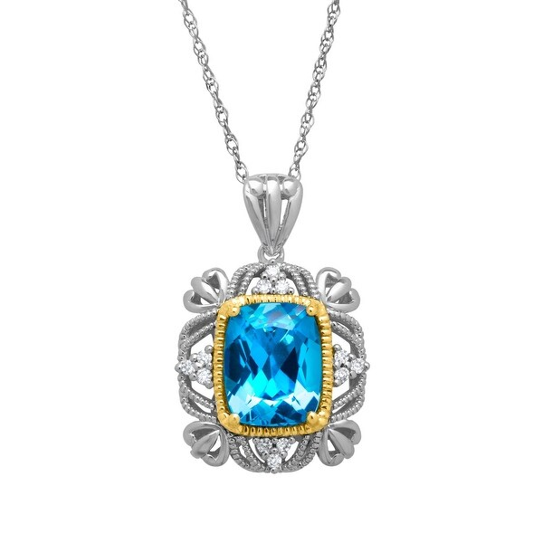 3 1/2 ct Natural Swiss Blue Topaz Pendant with Diamonds in Sterling Silver and 14K Gold