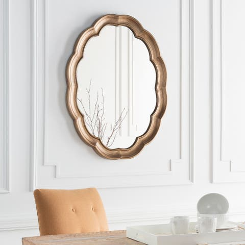 """Walter Aged Gold Frame Oval Wall Mirror - 30"""" x 40"""""""