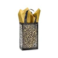 "Pack Of 250, Rose Leopard Safari Plastic Bags 3 Mil Bags 5.25 X 3.25 X 8.5"" For Gift Packaging"