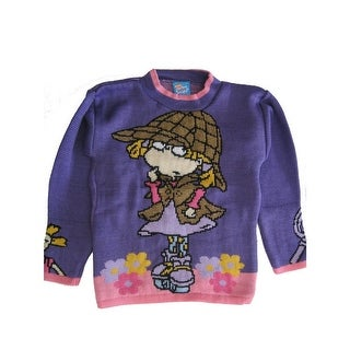 Nickelodeon Little Girls Purple Floral Rugrats Shirley Lock Holmes Sweater 4-6X