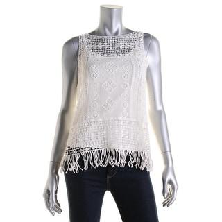 Lauren Ralph Lauren Womens Petites Blouse Crochet Fringe