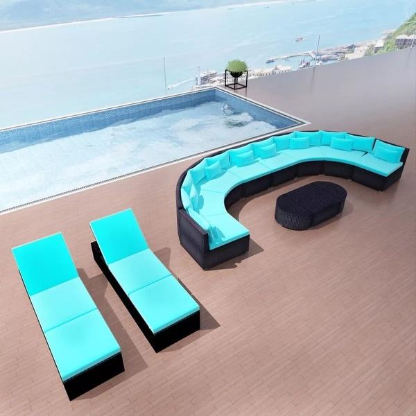 "vidaXL 13 Piece Garden Lounge Set with Cushions Poly Rattan - 173"" x 86"" x 26"""