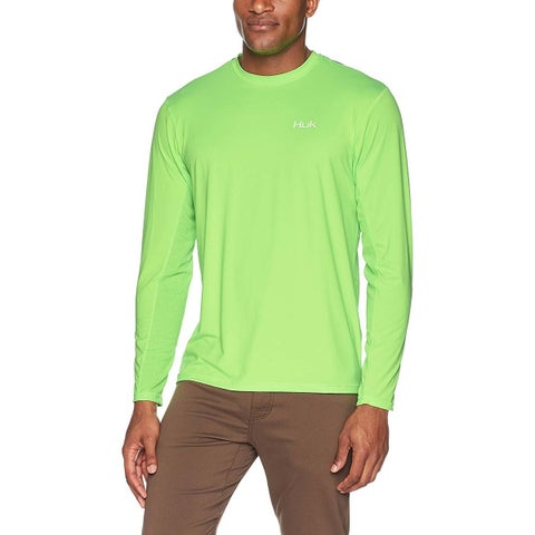 Huk Men's KC Scott Midnight Banks Icon Neon Green Small Long Sleeve Shirt