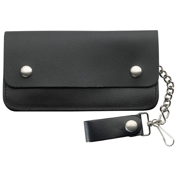 "8"" Black leather Biker Wallet with 2 pockets - One size"