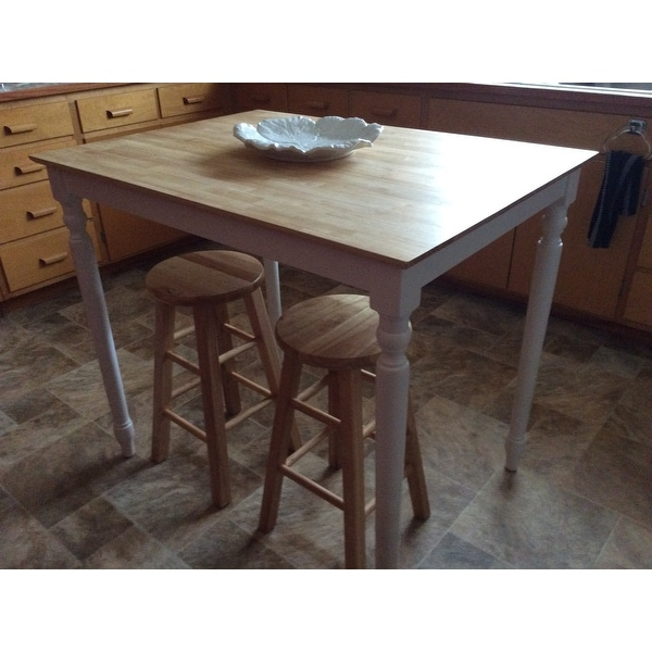 Unfinished Counter Height Turned Leg Rectangular Parawood Dining Table    Free Shipping Today   Overstock.com   16471825
