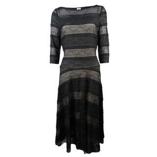 Sangria Women's Illusion Striped Lace A-Line Dress - 6
