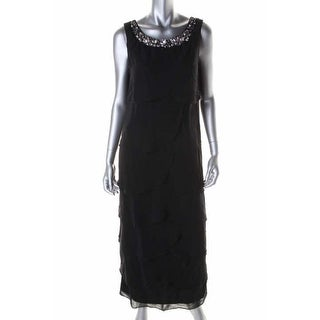 R & M Richards Womens Petites Evening Dress Beaded Sleeveless