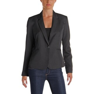 Tahari ASL Womens Petites One-Button Blazer Pinstripe Notch Collar
