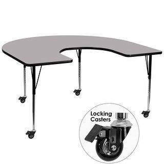 Fun & Games Activity Table 60''W x 66''L Horseshoe Grey Thermal Laminate Adj Height w/Wheels