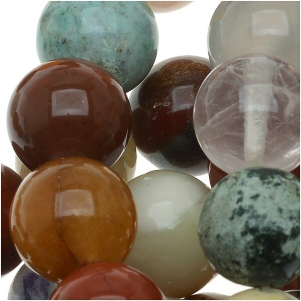 Gemstone Bead Lot Mix 10mm Round Beads - 15.5 Inch Strand