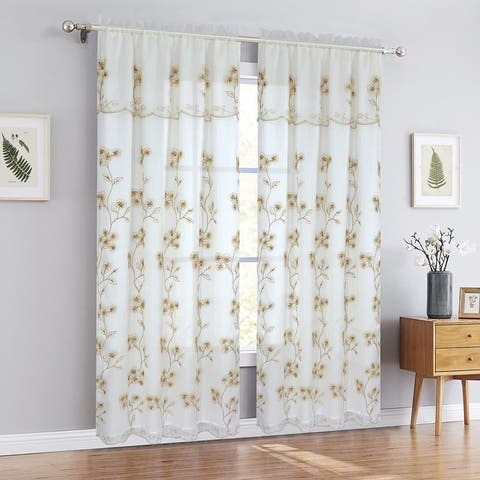 Carly Floral Embroidered Rod Pocket Window Panel With Valance And Backing, 54x90 Inches - N/A