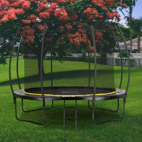 12FT Outdoor Trampoline with Safety Enclosure Net And Ladder