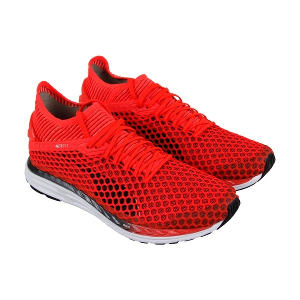 Puma Speed Ignite Netfit 2 Mens Red Mesh Athletic Lace Up Running Shoes a59dbf2e6