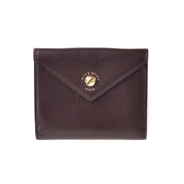Givenchy Dark Brown Purple Interior Leather Bifold Wallet