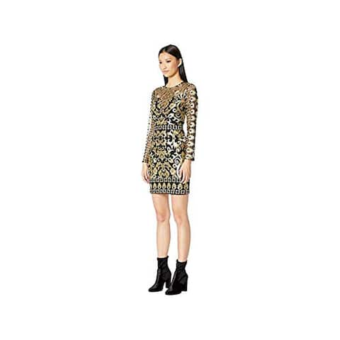 Nicole Miller Women's embroidered Dress, Black/Gold, 10
