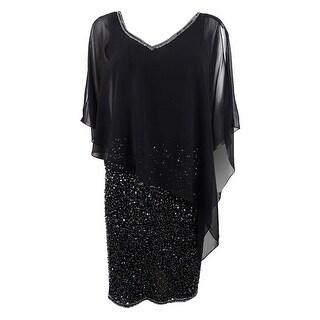 Link to J Kara Women's Embellished Capelet Dress Similar Items in Dresses
