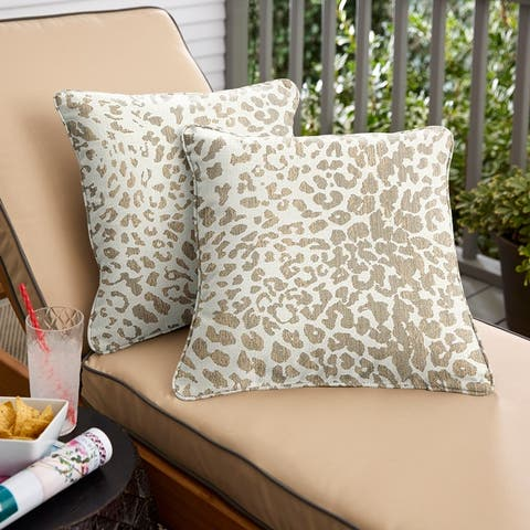 Sunbrella Tan Leopard Indoor/Outdoor Pillows, Set of 2, Corded