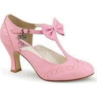 Pin Up Couture Women's Flapper 11 T-Strap Mary Jane Pink Faux Leather