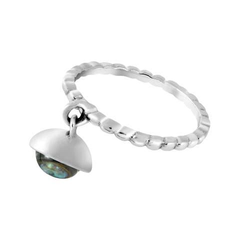 Handmade Earth Treasure Dangle Sterling Silver Texture Band Ring (Thailand)