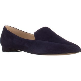 Nine West Abay Pointed Toe Loafer Flats, Navy - 6 us