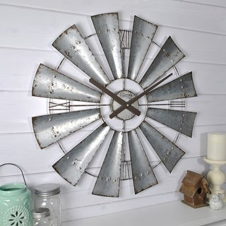 Link to FirsTime & Co.® Farmhouse Windmill Wall Clock, American Crafted, Galvanized Gray, Iron, 24 x 2 x 24 in - 24 x 2 x 24 in Similar Items in Decorative Accessories