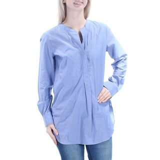 THEORY $255 Womens New 1043 Blue V Neck Cuffed Wear To Work Top S B+B
