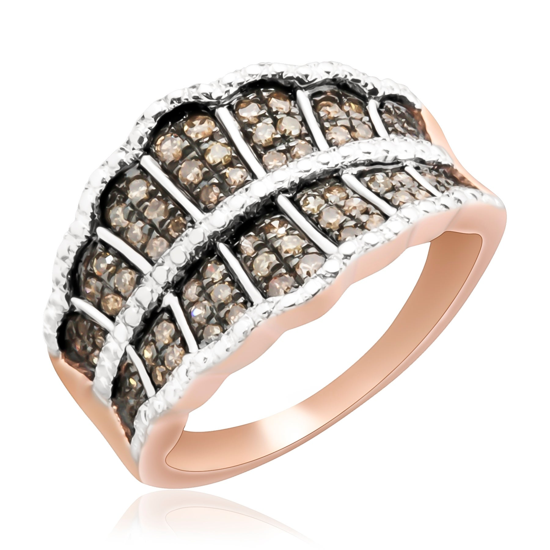Prism Jewel 0.54 Tcw Round Multi Color Diamond Designer Ring
