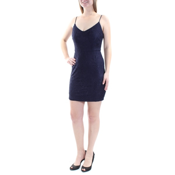 Shop GUESS Womens Navy Lace Spaghetti Strap V Neck Mini Cocktail Dress  Size  4 - Free Shipping On Orders Over  45 - Overstock.com - 21303520 48001a87a532