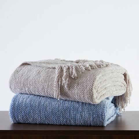 Tahari Home James Solid Chenille Woven Throw