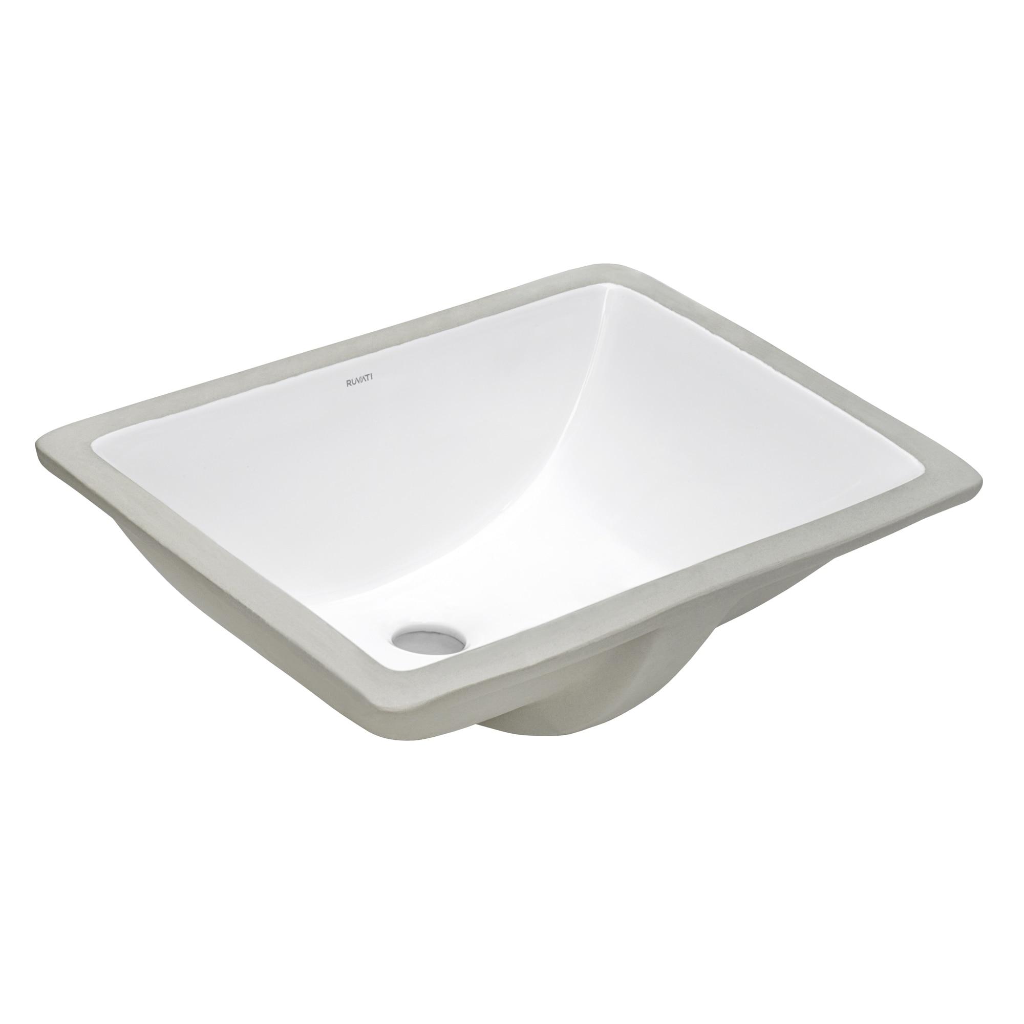 Ruvati 18 X 13 Inch Undermount Bathroom Vanity Sink White Rectangular Porcelain Ceramic With Overflow Rvb0718 Overstock 32324946