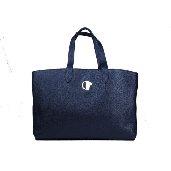 Shop Versace Collection Navy Pebbled Leather Medusa Logo Top Handle ... 7d646ca5d0